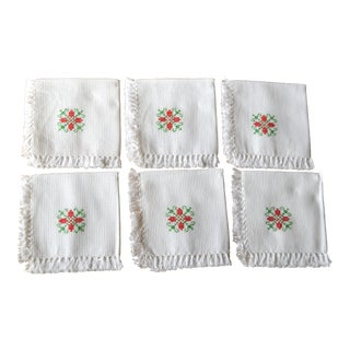 Hand Embroidered Fringed Cotton Cocktail Napkins- Set of 6