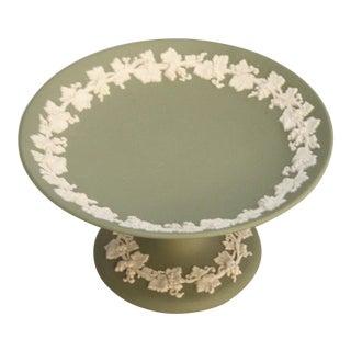 Vintage Wedgwood Green Jasper Ware Pedestal Plate