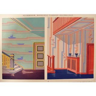 Vintage 1929 Art Deco Blue & Orange Pochoir Print