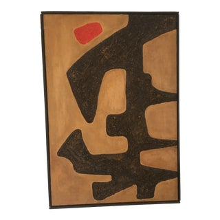 1970 Canvas and Paper Mache Abstract Composition