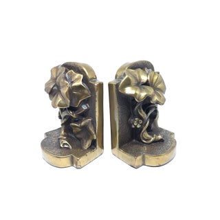 Vintage Bronze Ceramic Ivy Bookends - A Pair