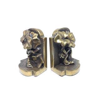 Vintage Bronze Ceramic Ivy Bookends - A Pair