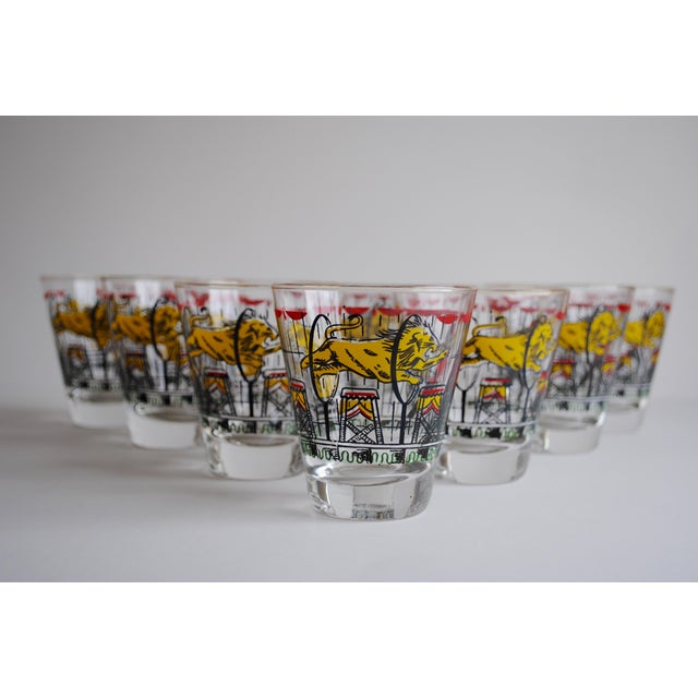 Vintage Circus Theme Whiskey Glasses - Set of 8 - Image 2 of 11
