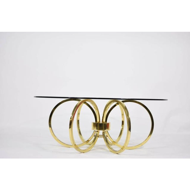 Milo Baughman Style Brass Finish Coffee Table - Image 6 of 6