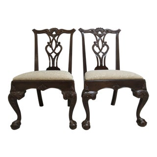 Henredon Ball and Claw Mahogany Chippendale Dining Chairs - a Pair
