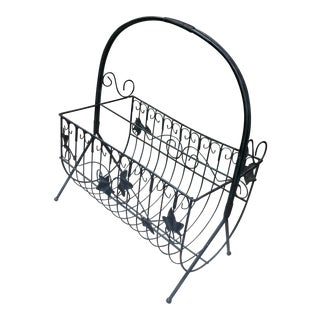 Vintage Wrought Iron Magazine Rack