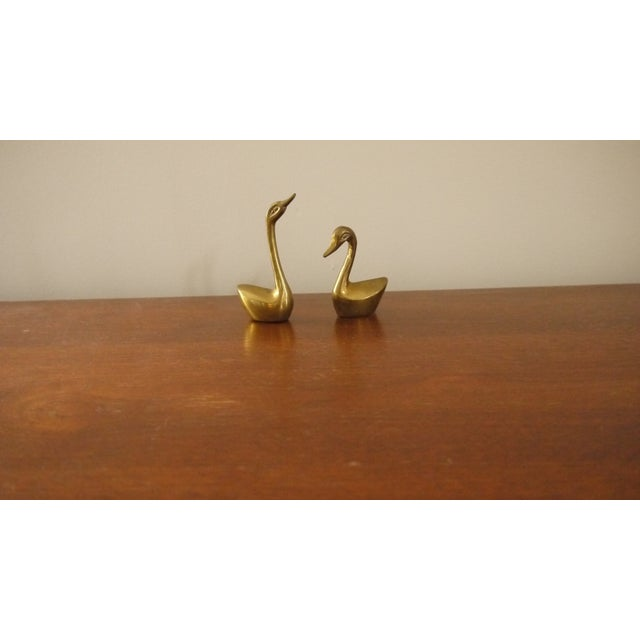 Mini Brass Swans - A Pair - Image 4 of 4