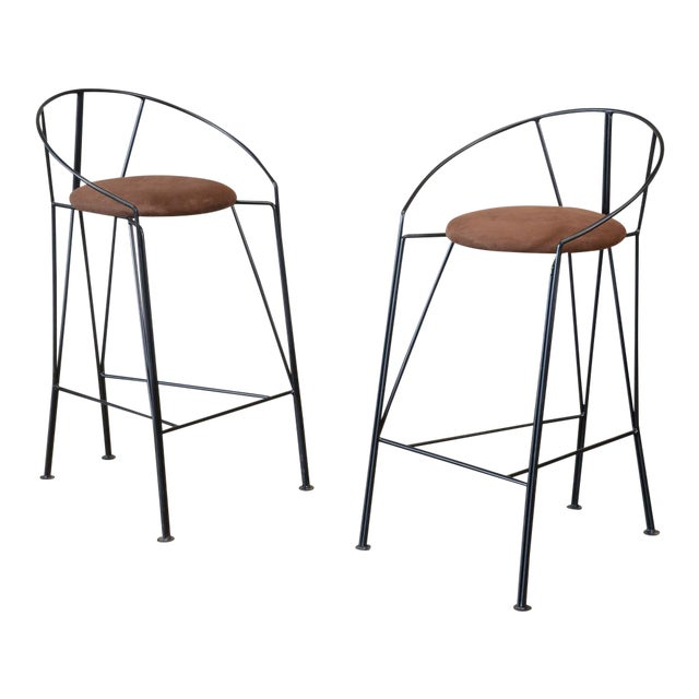 Unique Black-Painted Iron Barstools -- A Pair - Image 1 of 4