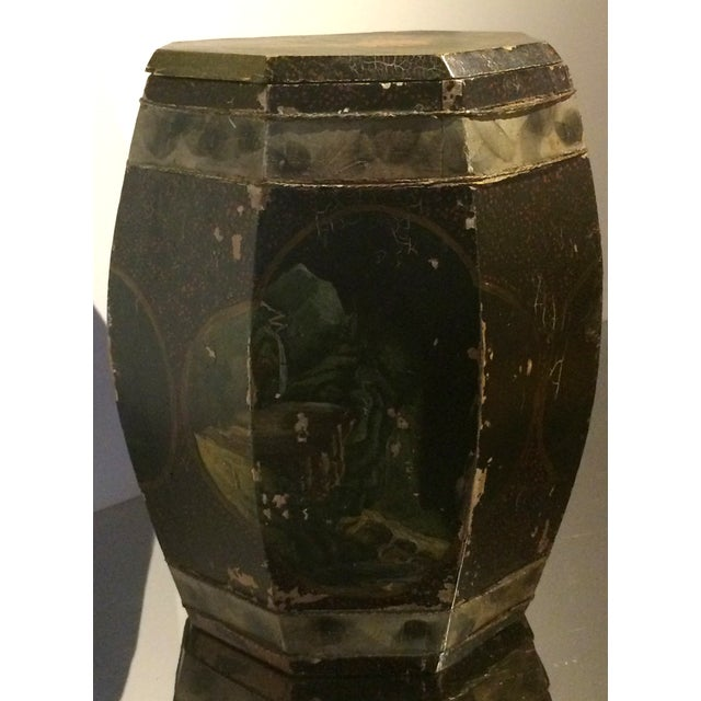 Vintage Chinese Hand Painted Wood Rice Bucket - Image 3 of 6