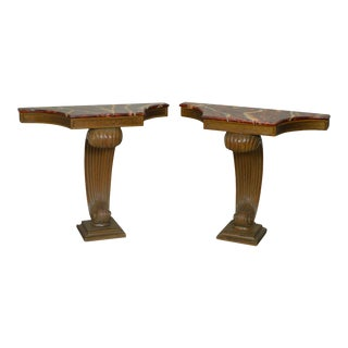 Grosfeld House Hollywood Regency Faux Painted Consoles - A Pair