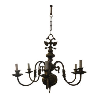 English Brass 6 Arm Chandelier