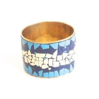 Vintage Brass & Blue Mosaic Picassiette Bracelet