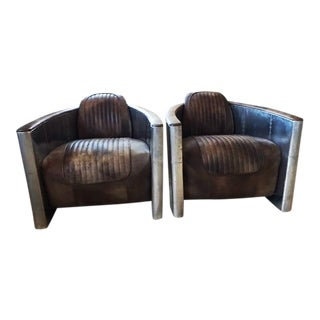 Aluminum & Leather Aviator Chairs - A Pair