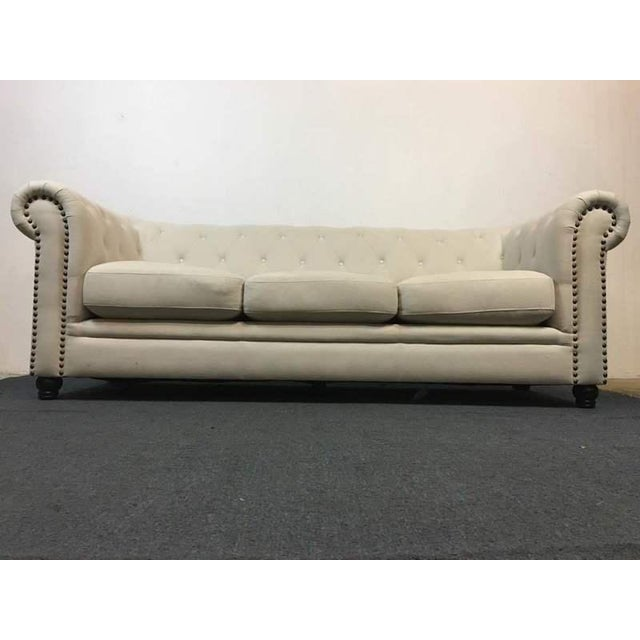 Image of White Tufted Chesterfield Sofa