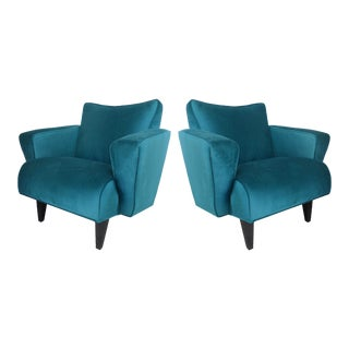 Thayer Coggin Club Chairs in Velvet - a Pair