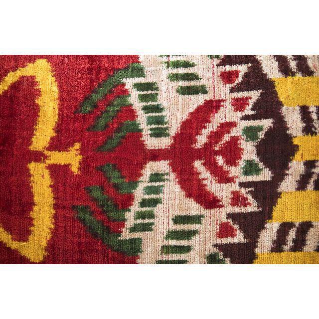 Multi-Colored Silk Velvet Ikat Pillow - Image 2 of 3