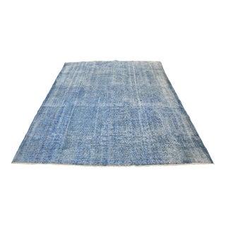 Oversize Handmade Turkish Oushak Blue Rug - 6′11″ × 9′