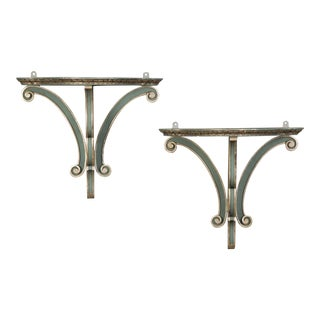 A pair of beautiful painted brackets from England c. 1890 having a gorgeous turquoise colour highlighted with silver gilt details.