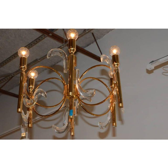 Gaetano Sciolari Lucite and Brass Chandelier - Image 2 of 6