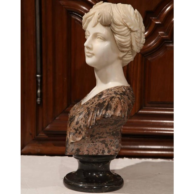 Large 19th Century Italian Carved Marble Bust of Young Lady by Goose - Image 5 of 7