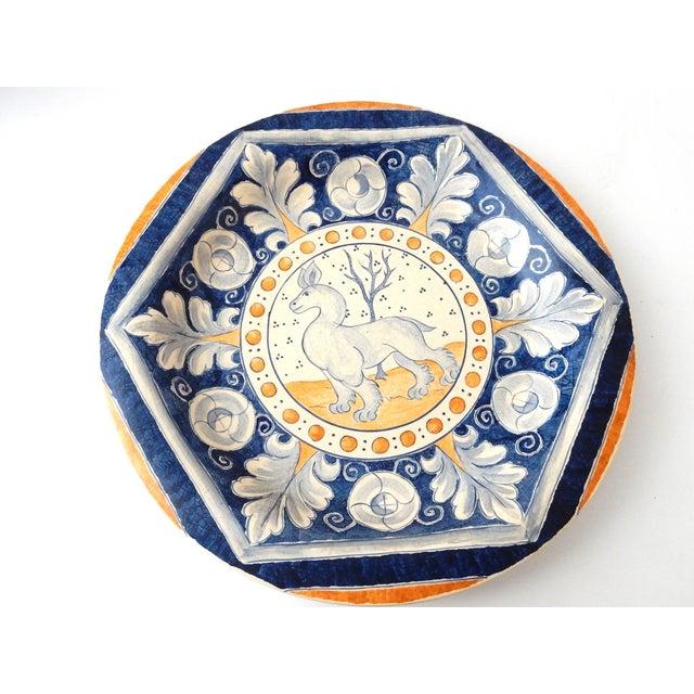 Vintage Italian Blue & Yellow Majolica Platter - Image 5 of 6