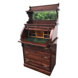 Antique Eastlake Victorian Carved Walnut Mirrored Cylinder Roll Secretary Desk