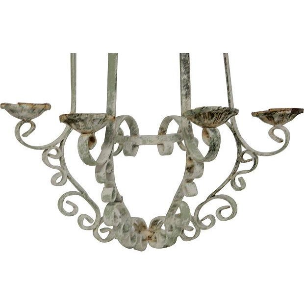 Shabby Chic Wrought Iron Sconces - A Pair - Image 5 of 5