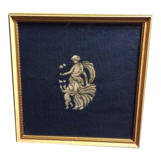 Framed Neoclassical Needlepoint Greek Goddess & Cupid on a Navy Background
