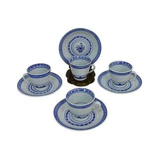 Rice Grain Cups & Saucers - Set of 4
