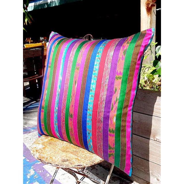 Silk Ikat Multi Stripe Floor Pillow - Image 7 of 7