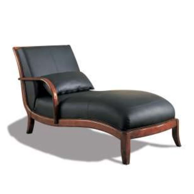 Real leather chaise lounge in black 2 available chairish for Black leather chaise sale
