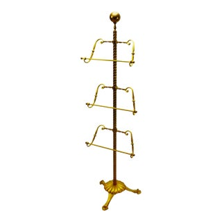 Vintage Brass 3 Tier Adjustable Valet / Towel Rack
