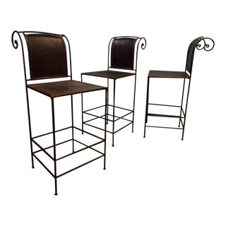 Vintage Scrolled Iron & Leather Bar Stools - Set of 3