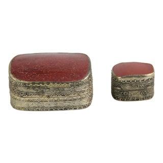 Ornate Silver Antique Porcelain Trinket Boxes - Pair
