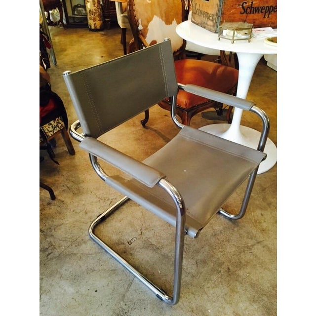 Italian Smoky Grey Leather Sling Chrome Chair - Image 3 of 10