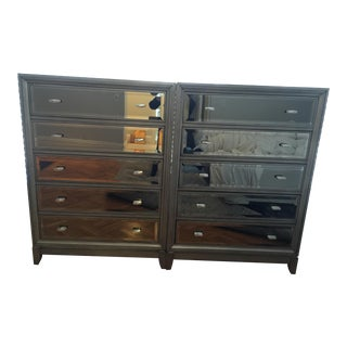 Grey Wooden Mirrored Dressers - A Pair