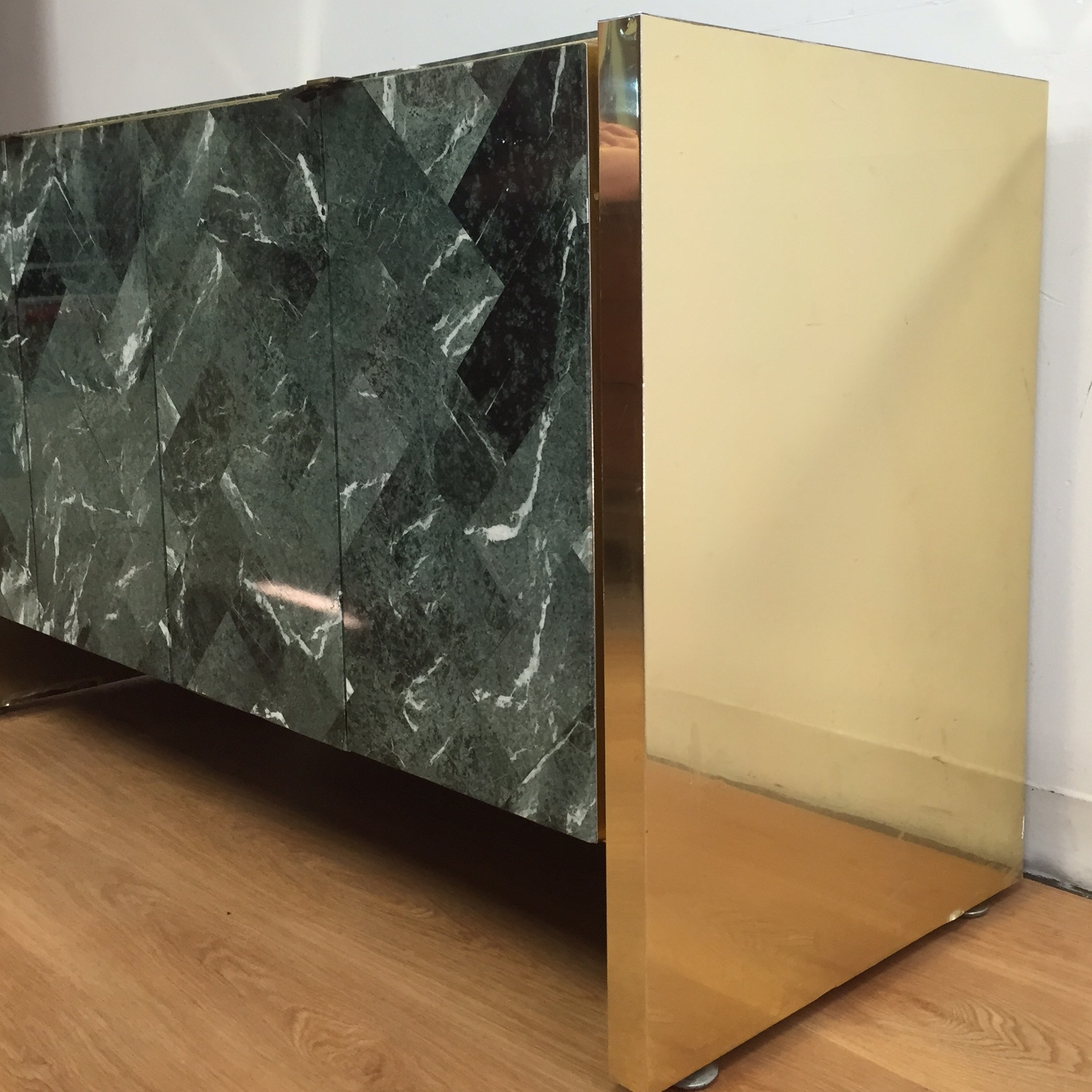 Tessellated Marble Amp Brass Credenza By Ello Chairish