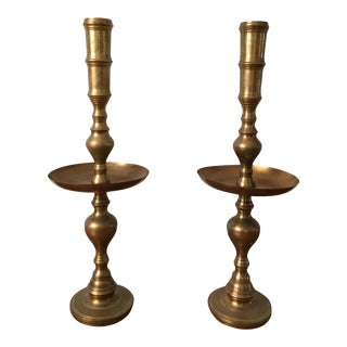 Tall Mid-Century Brass Candlestick Holders - a Pair