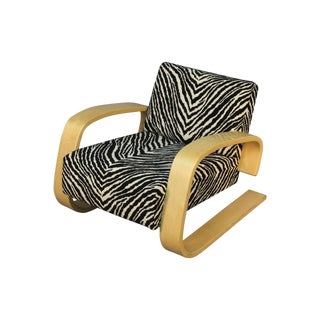 Alvar Aalto Tank Chair With Original Zebra Fabric