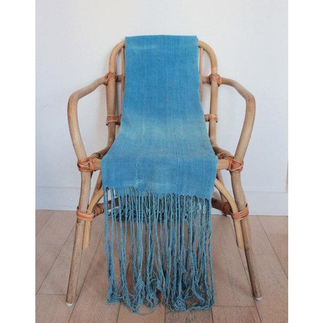 Vintage African Indigo Fringe Throw Blanket - Image 3 of 5