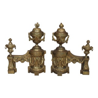 Pair Louis XVI Gilt Bronze Chenets