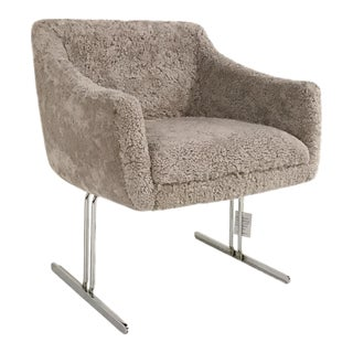 Hugh Acton Armchair in Sheared Grey Sheepskin