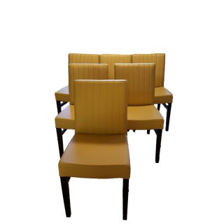 Sunflower Yellow Leather Dining Chairs - Set of 6
