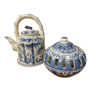 White and Blue Ceramic Kettle and Bowl Set