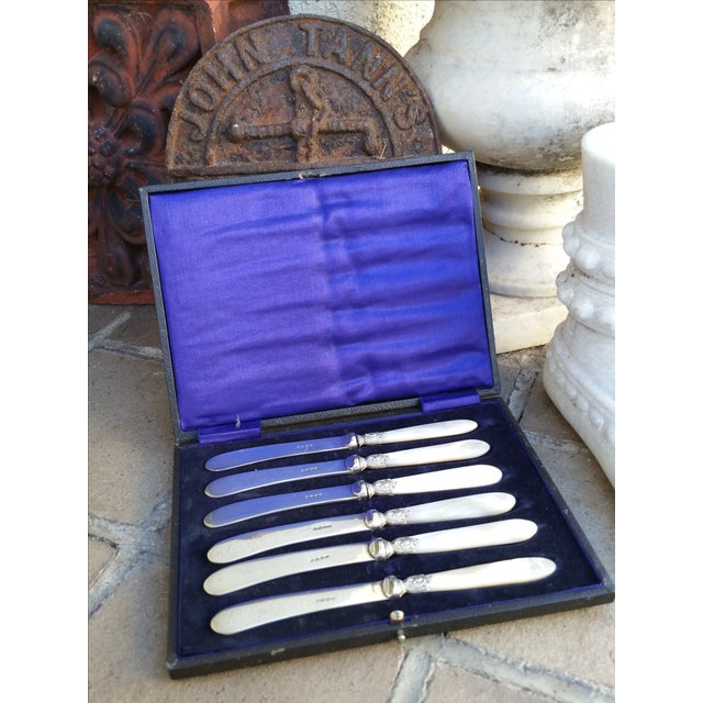 Image of Silver Mother of Pearl Butter Knives Set