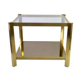 MID-CENTURY 2-SHELF ANODIZED ALUMINUM TABLE