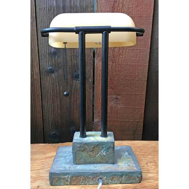Antique Style Banker's Desk Lamp With Slate Base - Image 5 of 6