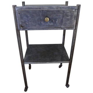 Industrial Steel Side Table on Wheels