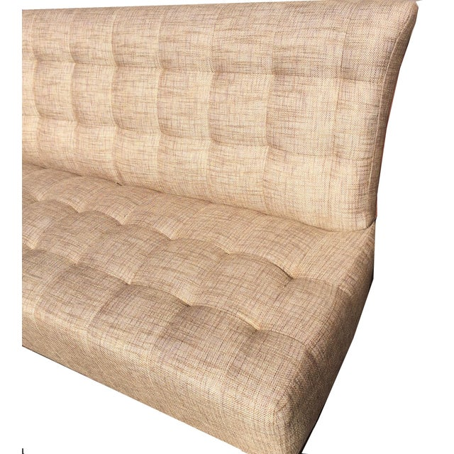 Brand New Custom Made Biscuit Tufted Sofa Settle With Leather Trim - Image 4 of 10