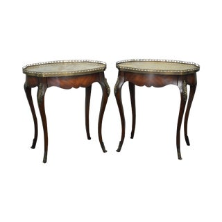 John Richards Pair of French Louis XV Style Marble Top Side Tables